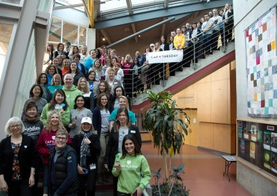 Capilano University staff in CapLoveTuesday gear