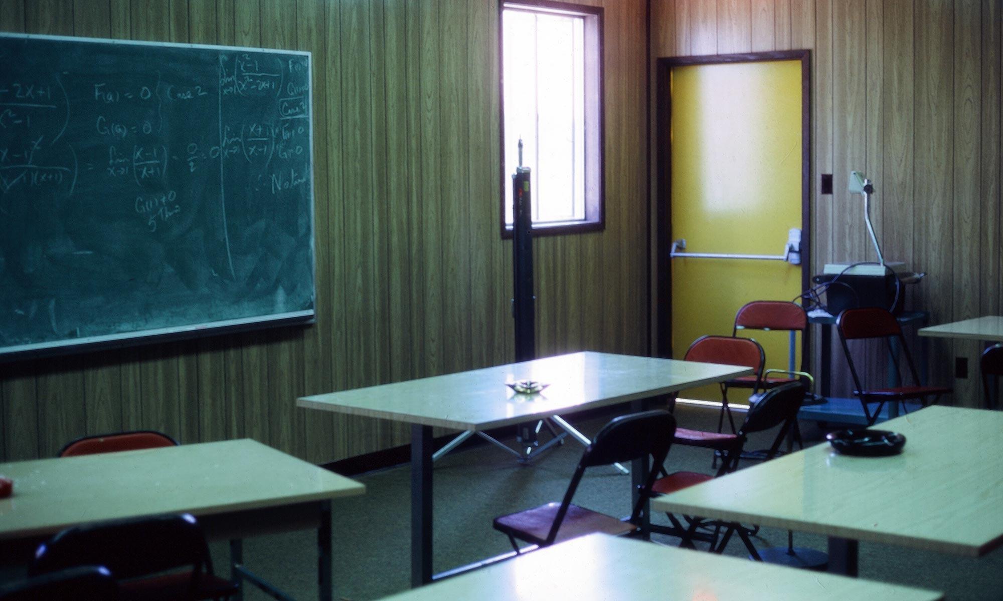 Empty classroom with ashtrays
