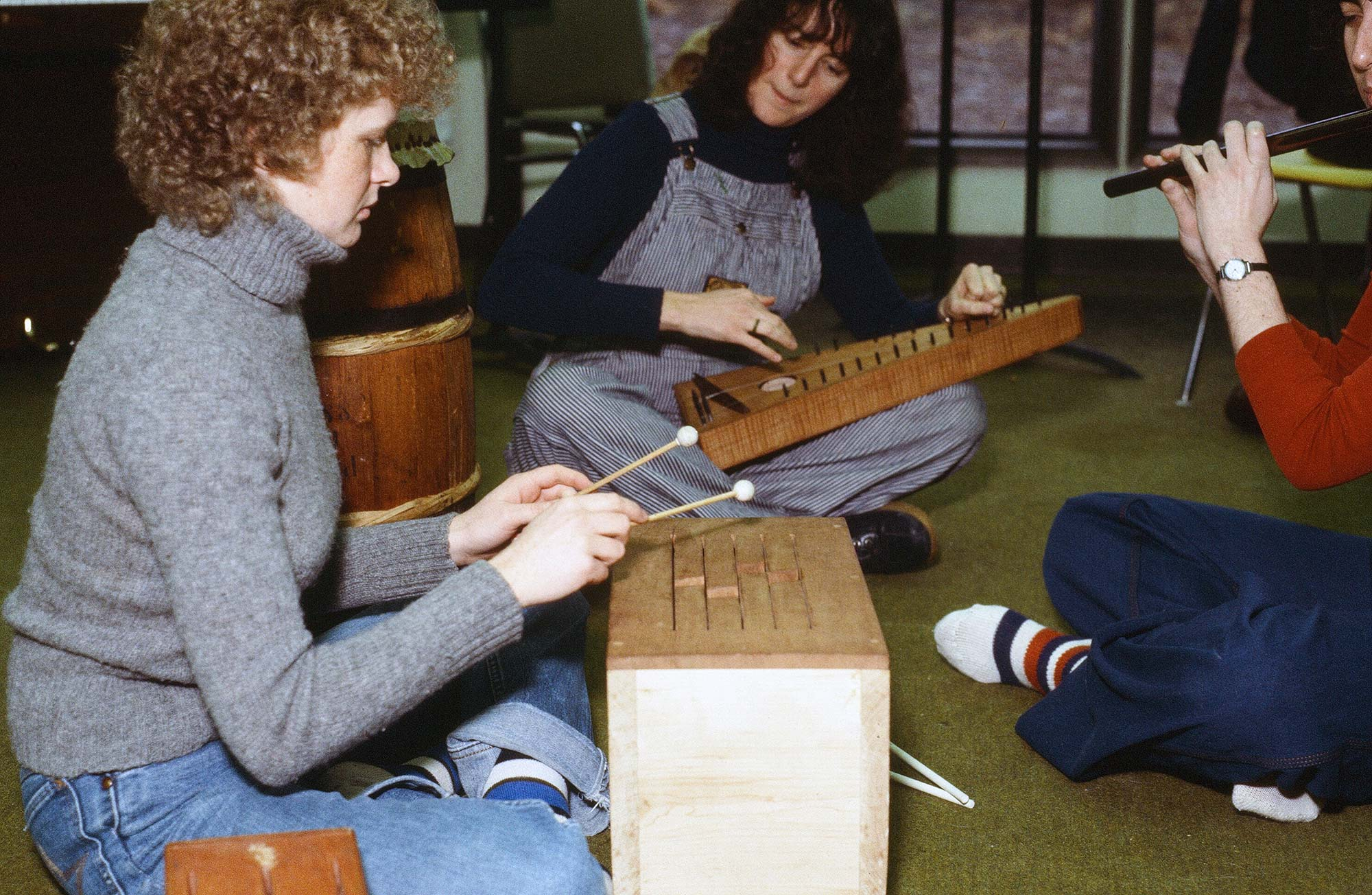 Music therapy students playing instruments, 1979