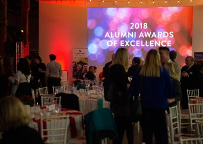 Mingling at Alumni Awards