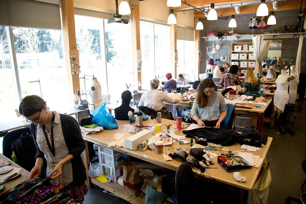Students in costuming studio