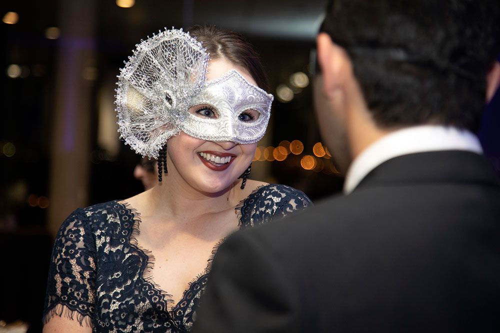 Woman smiling in mask