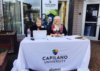 Check in table at Alumni Homecoming at Sechelt