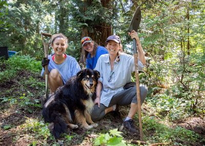 Sofia Paco, Jo-Ann Cook, Rachel Clearwater and Rachel's dog Daisy during a trail building day on Thursday, May 23, 2019.